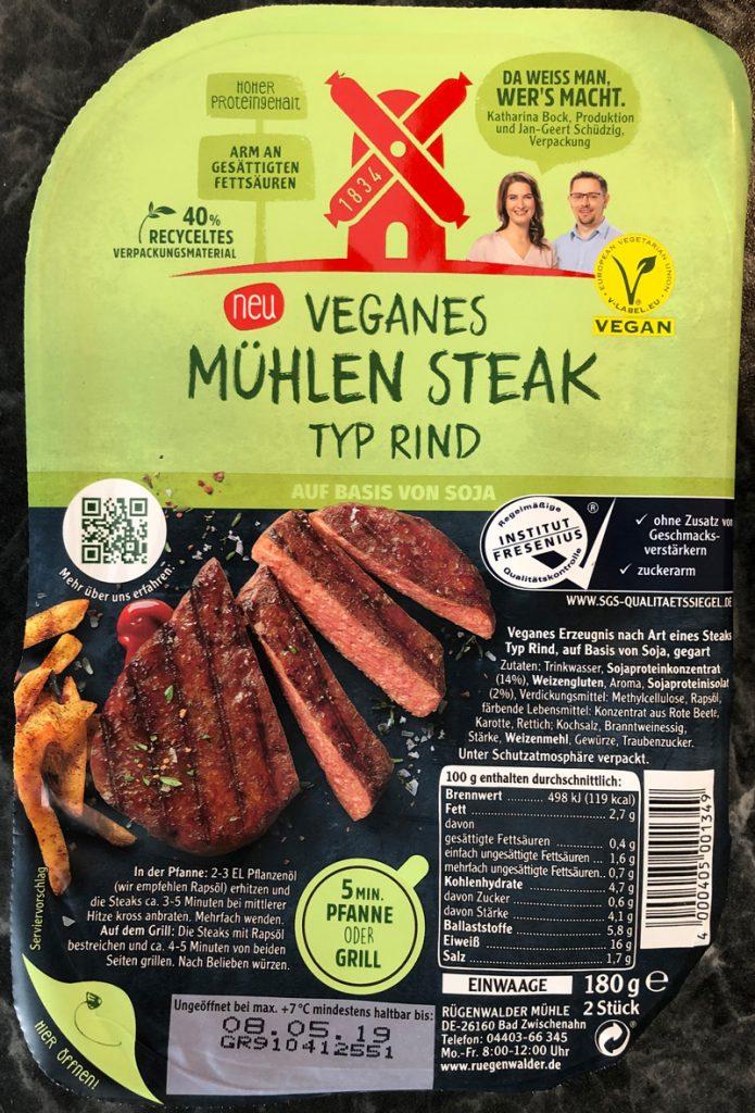 """Produktverpackung Rügenwalder Mühle """"Veganes Mühlen Steak Typ Rind"""""""